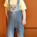 Штаны-джинсы на лямках для девочки