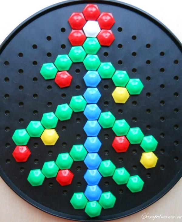 схема узор детской мозаики Елочка