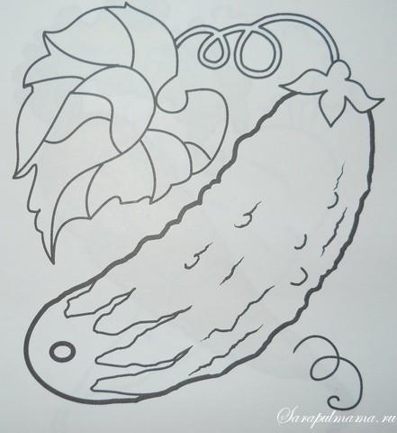 раскраски овощи огурец