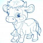 раскраски домашние животные коровка