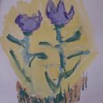 рисунки ребенка 3-4 лет Подснежники