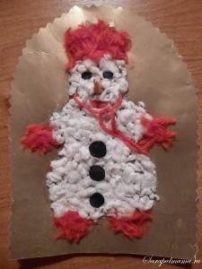 Делаем аппликацию снеговика из ваты своими руками