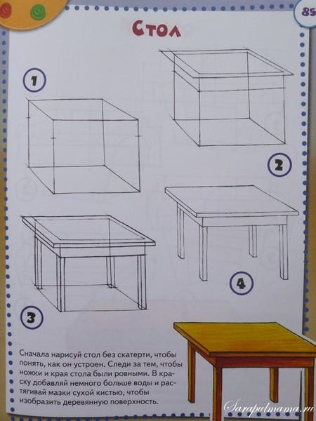 рисунок поэтапно стол для детей ряд: 3XL